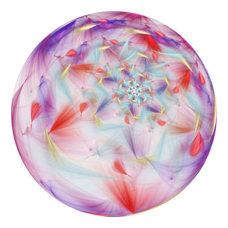 Beautiful exotic flower in crystal sphere. Fantasy red and violet fractal design. Psychedelic digital art. 3D rendering.