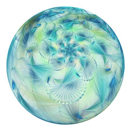 Beautiful exotic flower in crystal sphere. Fantasy blue and green fractal design. Psychedelic digital art. 3D rendering.