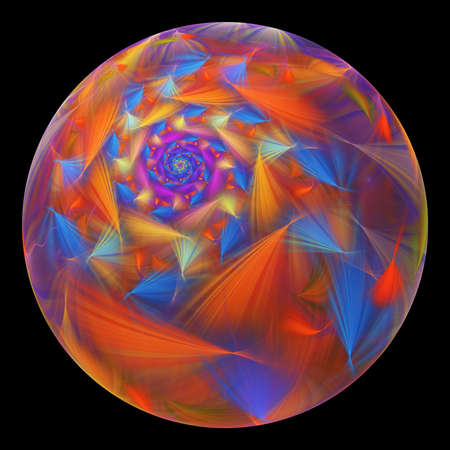 Beautiful exotic flower in crystal sphere. Fantasy blue and red fractal design. Psychedelic digital art. 3D rendering.