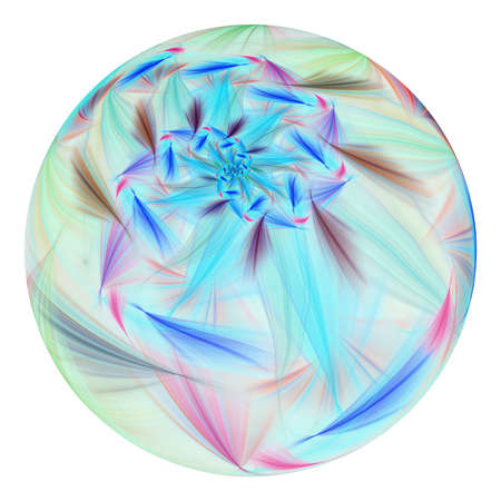 Beautiful exotic flower in crystal sphere. Fantasy pink and blue fractal design. Psychedelic digital art. 3D rendering.
