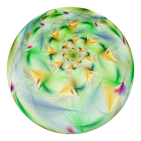 Beautiful exotic flower in crystal sphere. Fantasy yellow and green fractal design. Psychedelic digital art. 3D rendering.