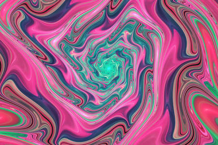 Abstract colorful pink and green wavy texture. Fantasy fractal background. Digital art. 3D rendering. Imagens