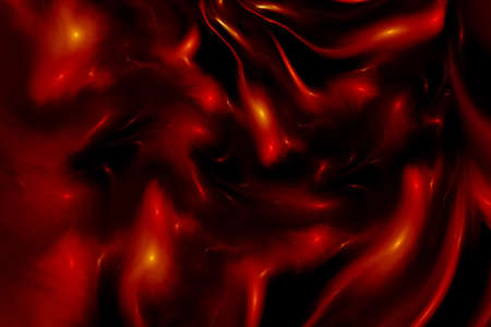Abstract red and black shiny waves. Fantasy fractal background. Digital art. 3D rendering.