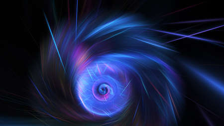 Abstract blue and violet sparkling lines. Shiny holiday background. Digital fractal art. 3d rendering.