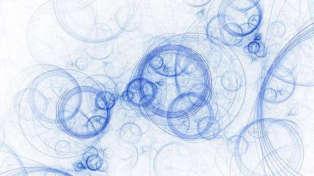 Abstract blue lines. Digital fractal art. 3D rendering.