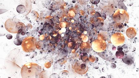 Abstract shiny bronze bubbles. Digital fractal art. 3D rendering.