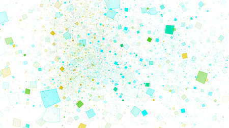 Abstract shiny green and blue particles. Chaotic fractal background. Digital art. 3D rendering. Archivio Fotografico