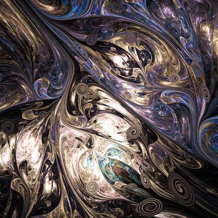 Abstract colorful blue and brown swirly shapes. Fantasy organic background. Digital fractal art. 3d rendering.