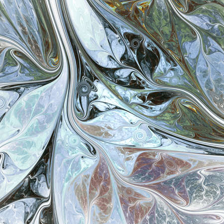 Abstract colorful gray and green swirly shapes. Fantasy organic background. Digital fractal art. 3d rendering.