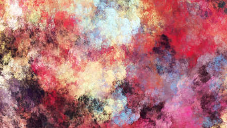 Abstract red and gold fantastic clouds. Chaotic fractal background. 3d rendering.