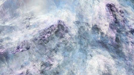 Abstract surreal blue and gray clouds. Expressive brush strokes. Fractal background. 3d rendering.
