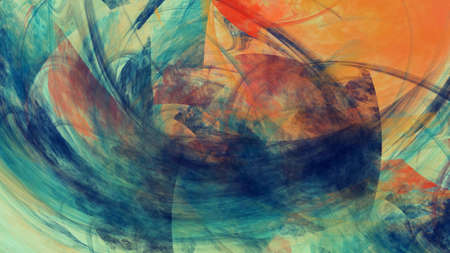 Abstract blue and orange chaotic painted texture. Colorful fractal background. Digital art. 3d rendering.