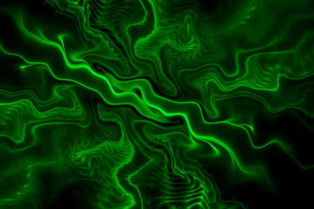 Abstract fluorescent green waves on black background. Fantasy colorful fractal texture. Digital art. 3D rendering.