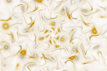 Abstract glossy golden chaotic waves. Digital fractal art. 3d rendering.