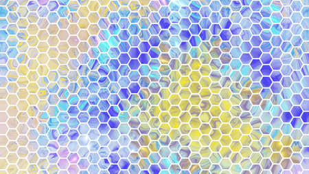 Abstract geometric background. Colorful blue and yellow texture. Digital fractal art. 3d rendering.