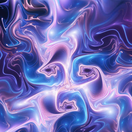 Abstract blue and rose glossy zigzag pattern. Digital fractal art. 3d rendering.