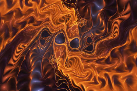 Abstract gold and brown glossy zigzag pattern. Digital fractal art. 3d rendering.
