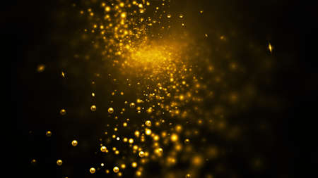 Abstract golden sparkles. Fantasy holiday background. Digital fractal art. 3d rendering.