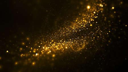 Abstract blurred golden lights. Fantasy holiday sparkle background. Digital fractal art. 3d