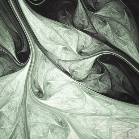 Abstract exotic black and white leaves. Fantastic organic texture. Digital fractal art. 3d rendering.