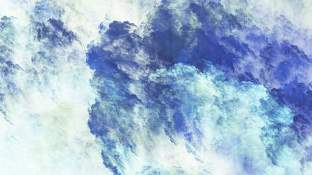 Abstract fantastic blue clouds. Colorful fractal background. Digital art. 3d rendering.