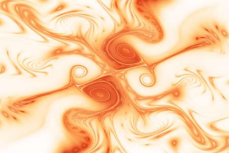 Abstract glossy orange waves. Fantastic swirly texture. Digital fractal art. 3d rendering.