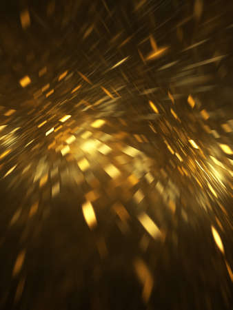 Abstract geometric background with blurred golden rays and sparkles. Fantastic light effect. Digital fractal art. 3d rendering. Standard-Bild
