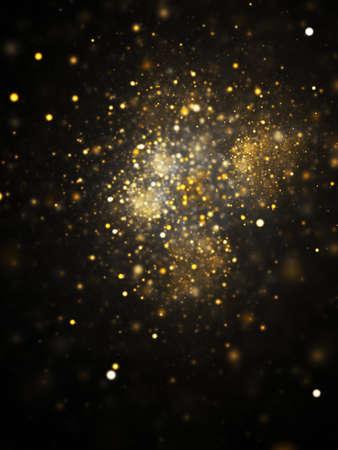 Abstract blurred golden lights. Fantasy colorful holiday sparkle background. Digital fractal art. 3d rendering. Foto de archivo