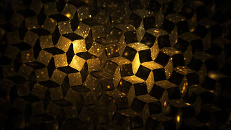 Abstract geometric background with blurred golden sparkles. Fantastic light effect. Digital fractal art. 3d rendering.
