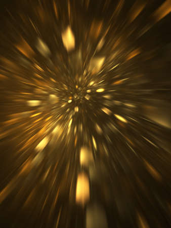 Abstract holiday background with blurred golden rays and sparkles. Fantastic light effect. Digital fractal art. 3d rendering. Standard-Bild