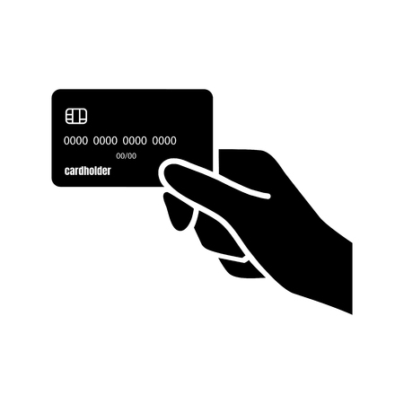 hand holds the credit card. Vector illustration. Image for adverting in the financial and the bank sphere.