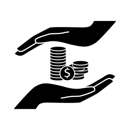 saving monet vector  icon. Flat design style. Illustration