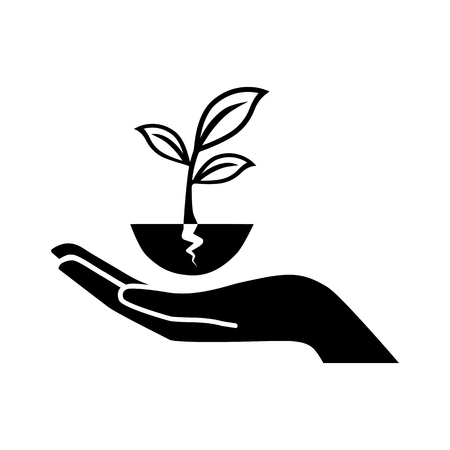 plant vector icon with human hand. Illustration on a flat design style. EPS 10. Suitable for ecology, agriculture theme. Illustration