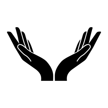 two hands vector icon. Flat design style
