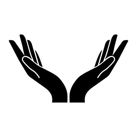zwei Hände-Vektor-Symbol. Flacher Designstil