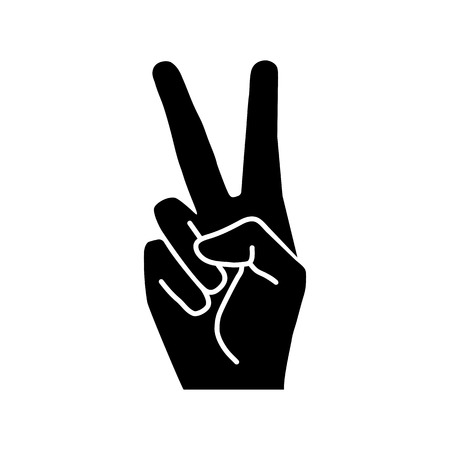 Peace or victory hand gesture vector icon. Two fingers up. Flat design style Ilustrace