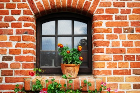 Window in old building, Galiny, Poland photo