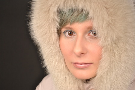 eskimo woman: Beautiful woman with a European beauty