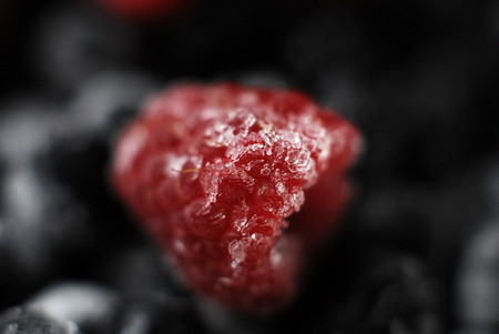 defrost: Frozen in ice fruits strawberry Stock Photo