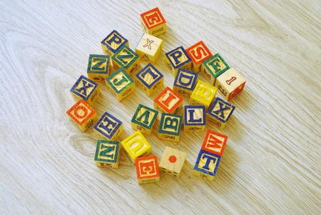 wood blocks: Wooden blocks for children learning to write Stock Photo