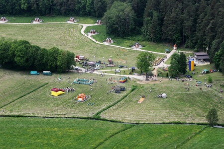 the mary: Gietrzwald village in Poland aerial view. Place of the apparitions of the Virgin Mary