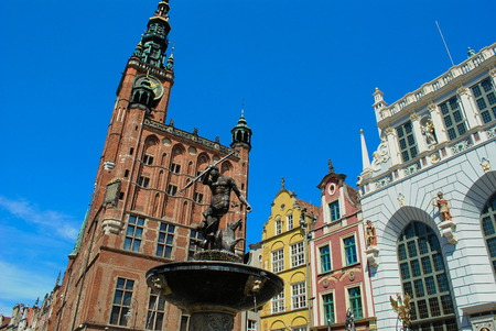 old town guildhall: Town hall and Neptunes fountain Old Town Gdańsk in Poland Editorial