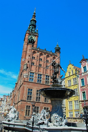 old town guildhall: Town hall and Neptunes fountain Old Town Gdańsk in Poland