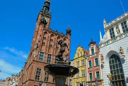 cityhall: Town hall and Neptunes fountain Old Town Gdańsk in Poland