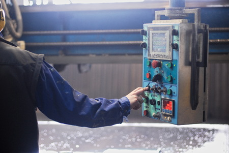 manufactory: Work in stone factory with machines Stock Photo