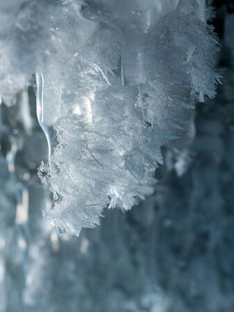 Beautiful sparkling ice crystals on the ice swag. Lake Baikal, Russia Stock fotó