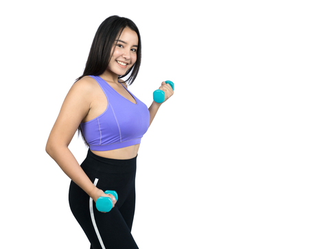 beautiful plus size Asian woman doing workout with dumbbells, isolated on white background 免版税图像