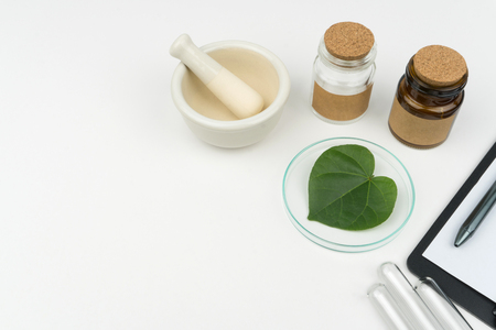 herbal medicine research concept. an organic green leaf in watch glass with a mortar and pestle, two bottles and three test tubes on the white table in laboratory. 免版税图像