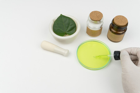 herbal medicine research concept. the scientist holding a green liquid dropper on watch glass, an organic green leaf in mortar, a pestle and bottles on the white table in laboratory