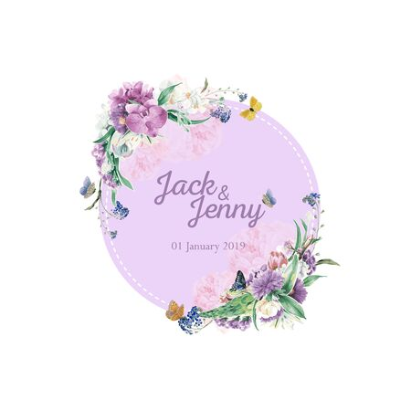 Wedding Logo Orchid Flower Theme.Wedding logo design in purple orchid theme. You can use the decoration on a backdrop for your celebration.Weddings, parties, birthdays and more.